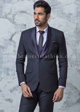 Purple Terry Rayon Checkered Mens Suit