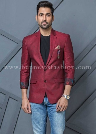 Red Linen Casual Blazer