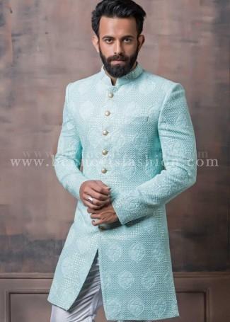 Classy Sky Blue Indowestern Sherwani