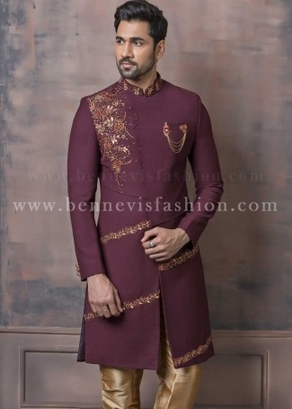 Embroidered Maroon Wedding Sherwani for Men