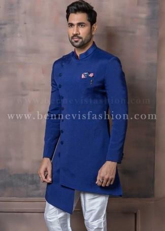 Asymmetric Royal Blue Indowestern Sherwani