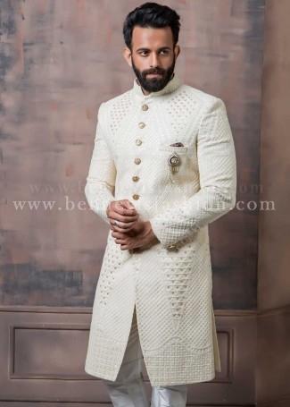 Elegant Off-white Designer Sherwani