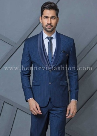 Blue Striped-checkered Mens Suit