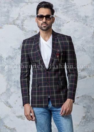 Multi Color Classy Checkered Mens Blazer
