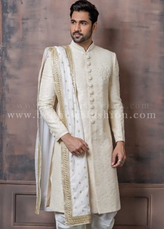 Off white Jacquard Groom Designer Sherwani