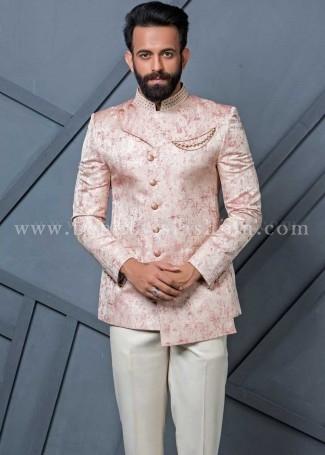 Beige Jacquard Mens Jodhpuri Suit