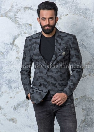 Grey Terry Rayon Camouflage Blazer for Men