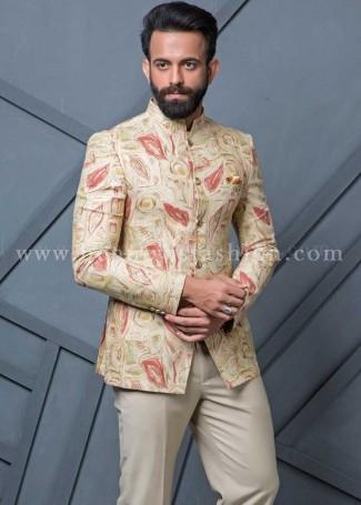 Beige Linen Mens Jodhpuri Suit