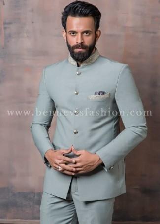 Mint Green Terry Rayon Mens Jodhpuri Suit