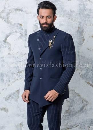 Blue Plain & Striped Men's Jodhpuri Suit
