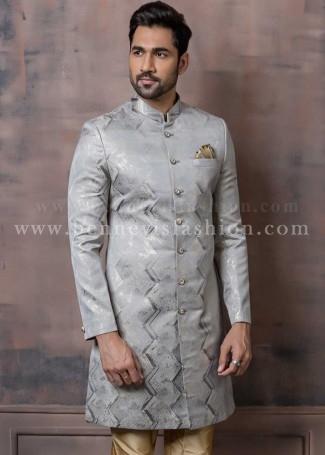 Silver and Grey Mens Indowestern Sherwani