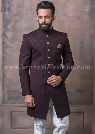 Maroon Striped Indowestern Sherwani for Men