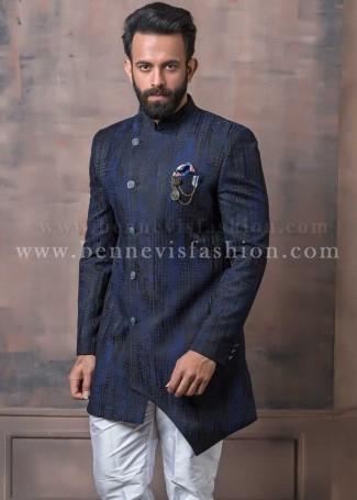 Blue Asymmetric Indowestern Sherwani for Men