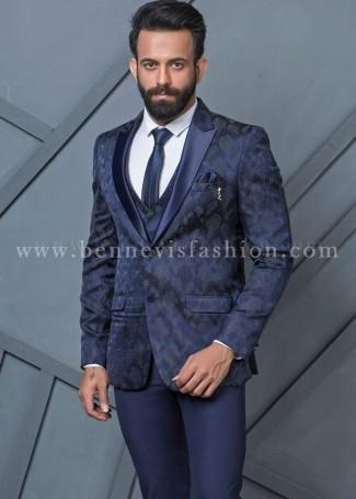Mens Blue Jacquard Designer Suit