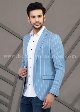 Classy Striped Blue Mens Blazer Jacket
