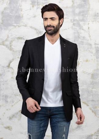 Black Self-design Casual Blazer for Men