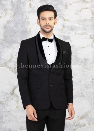 Classy Black Jacquard Suit for Men