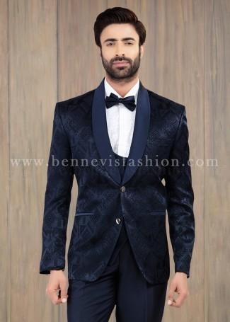 Premium Blue Jacquard Mens Suit