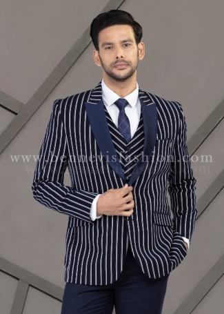 Blue Striped Fancy Mens Suit