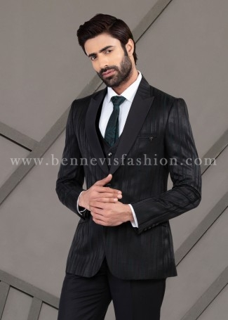 Green Jacquard Classy Suit for Men