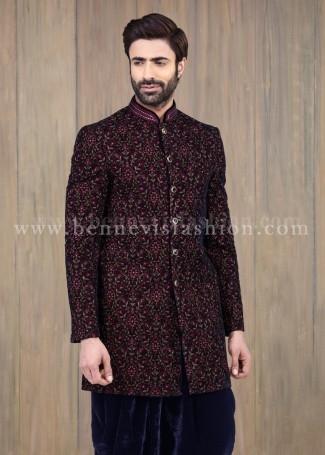 Velvet Embroidered Blue Indowestern Mens Sherwani