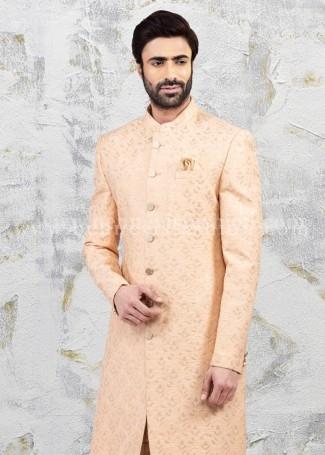 Bennevis Silk Mens Sherwani in Peach color
