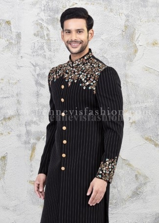 Striped Black Indowestern Sherwani for Men