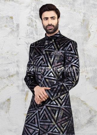 Classy Black Slim Fit Mens Sherwani