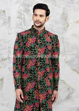Blue Floral Sherwani for Men Wedding