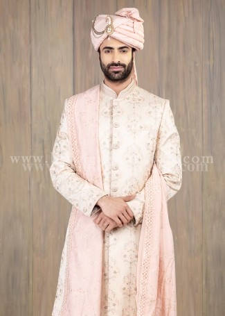 Off-white Mens Silk Sherwani for Wedding