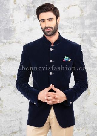 Plain Velvet Blue Mens Jodhpuri Suit