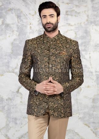 Jacquard Mens Jodhpuri Suit in Mehendi Green