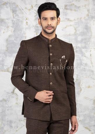 Solid color Jute Jodhpuri Suit in Brown for Men