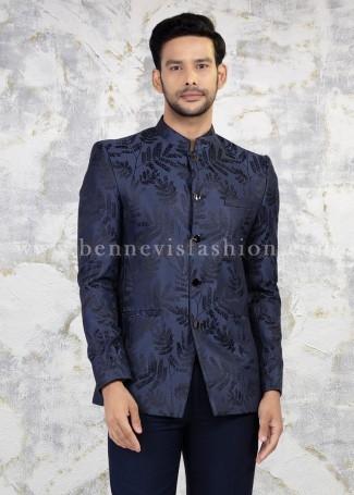 Purple Jodhpuri Suit for Men in Floral Design