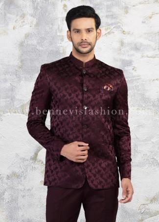 Wine Floral Jacquard Jodhpuri Suit for Men