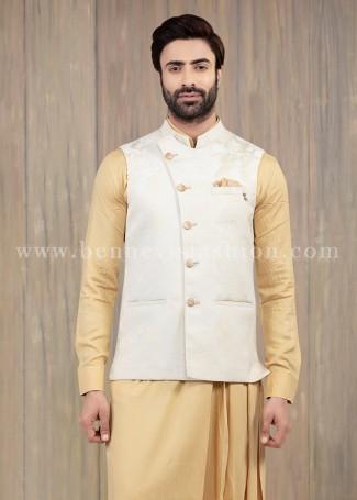 Cream Waistcoat with Kurta Pajama for Men