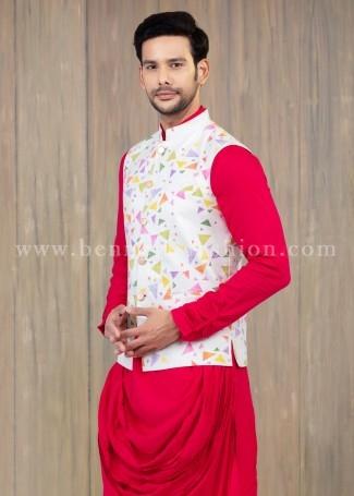 White Printed Linen waistcoat with Kurta Pajama