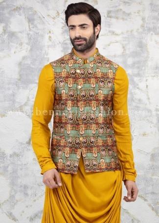 Multicolor Wedding Bandi Kurta Set for Men
