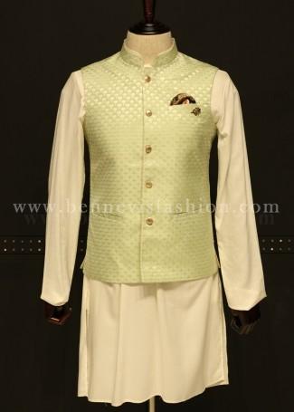 Mint Green Waistcoat with Kurta Pajama for Men