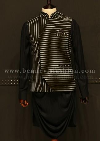 Black Striped Waistcoat with Kurta for Men