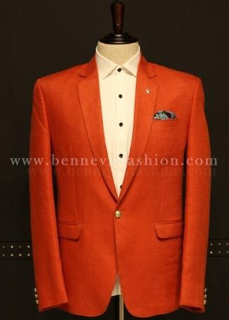 Casual Orange Linen Blazer