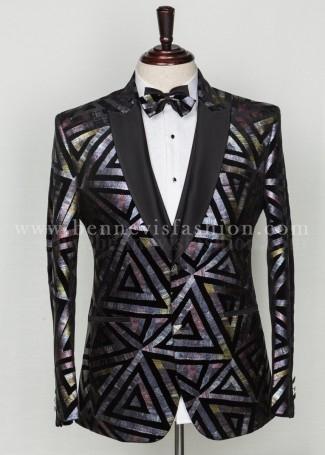 Black Velvet Foil Print Exclusive Tuxedo for Men