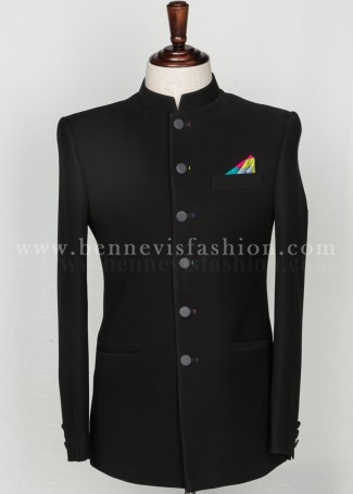 Classic Black Bandhgala Suit for Men