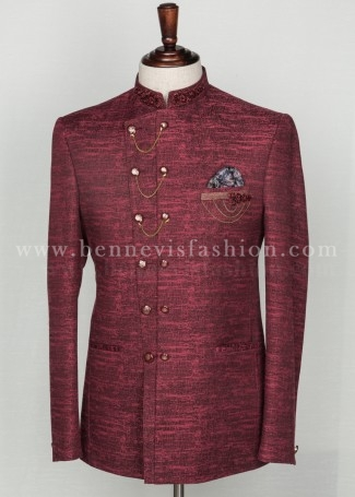 Asymmetric Maroon Badhgala Suit with Embroidery