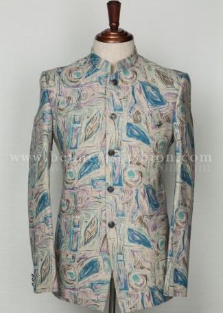 Blue Linen Mens Bandhgala Suit