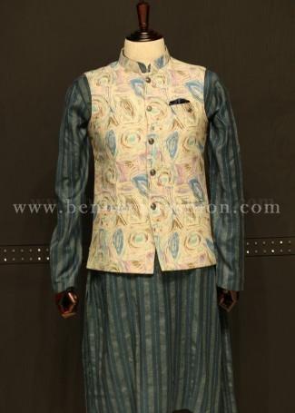 Blue Printed Linen waistcoat with Kurta