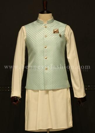 Blue Waistcoat with Kurta Pajama for Men