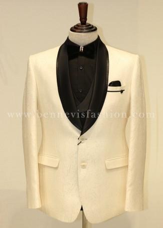 Cream White Jacquard Tuxedo for Men