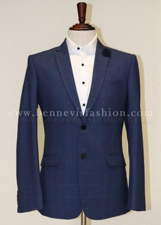 Mens Classic Blue Checkered Blazer