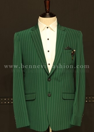 Mens Casual Green Blazer with Stripes